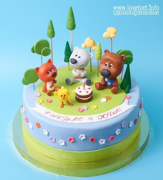 "Торт с фигурками героев мультфильма ""Мишки ми-ми-мишки"", 3,6 кг cake"