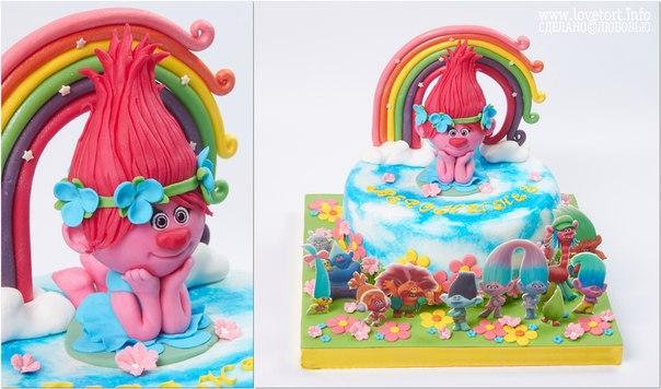 """Торт с героями мультфильма Тролли """"Клубничка"""", 2,5 кг cake"""