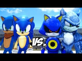 SONIC THE HEDGEHOG AND SONIC BOOM VS SONIC THE WEREHOG AND METAL SONIC - EPIC BATTLE SONIC HEDGEHOG