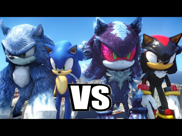 SONIC THE HEDGEHOG AND SONIC THE WEREHOG VS SHADOW THE HEDGEHOG AND MEPHILES THE DARK - EPIC BATTLE