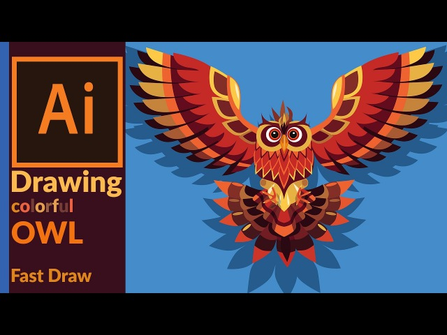 Drawing a colorful vector owl art in adobe illustrator