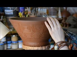 Декорирование вазы для фруктов. Этнический орнамент