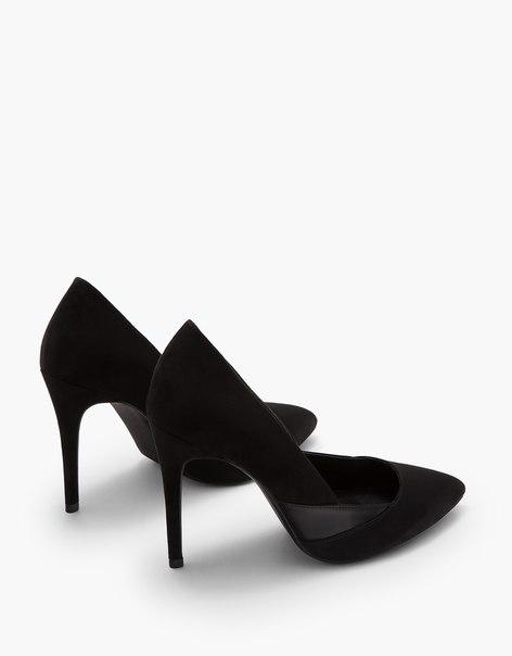 Туфли на каблуке-шпильке из комбинированных материалов