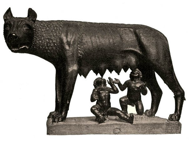 She-wolf suckles Romulus and Remus