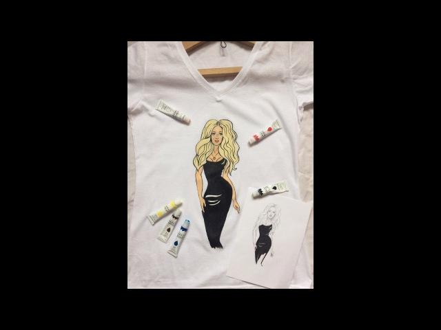 Как рисовать акрилом   Роспись одежды   DIY футболка!