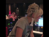 Miley in the studio in May, last year, recording We A Famly
