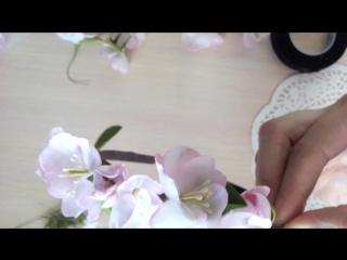 Сборка ободка с цветами ручной работы.