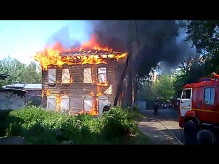 Пожар в доме по адресу пр. Ленина 25/1 17.06.17г.