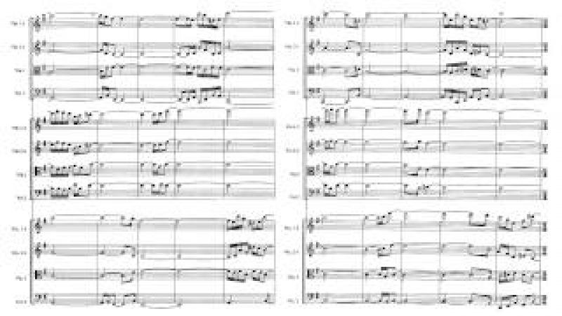 Steve Reich - Triple Quartet, mvt 2 3 (with sheet music)