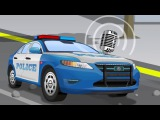Das Polizeiauto auf der Autobahn - Verfolgt Fl