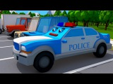 The Bus Accident The Blue Police Car in the City - Real 3D Emergency Vehicles - Cars Team Cartoons
