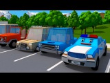 The Police Car &amp The Monster Truck w Vehicles 3D Cartoons for children - Cars &amp Trucks Stories