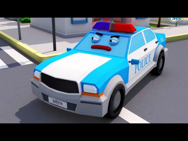 Мультик! УЧИМ ЦВЕТА с Полицейской Машиной и Машинками в Городке! 3D Видео для детей
