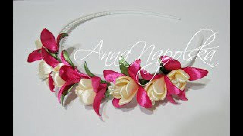 Обруч з фуксіями канзаши. Ободок с фуксиями своими руками. Fuchsia flowers headband