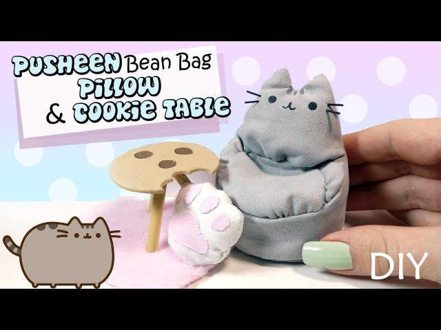 How To Miniature Pusheen Bean Bag Cookie Table Tutorial DIY Doll Furniture