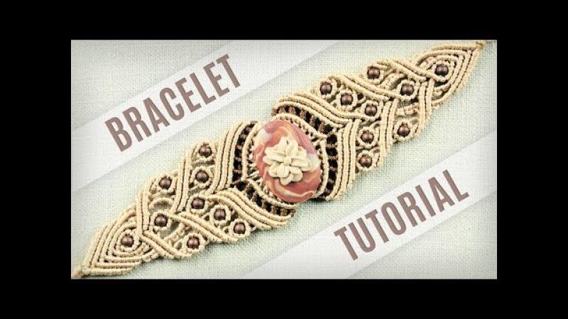Macrame Stone Bracelet Tutorial in Vintage Style   Boho DIY