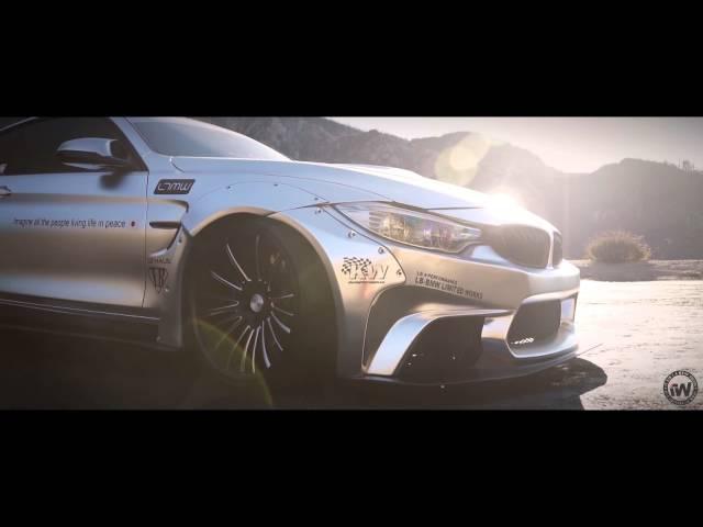 Liberty Walk BMW M4 wrapped in Satin silver chrome by Impressive Wrap (LB performance)