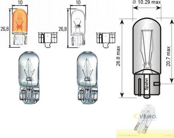 Лампа накаливания, освещение щитка приборов; Лампа накаливания для AUDI A2 (8Z0)