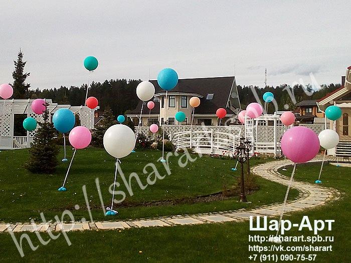 большие шары для оформление на улице свадьбы