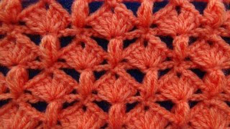 Punto tejido a crochet 5 combinacion de abanicos con puntos garbanzos