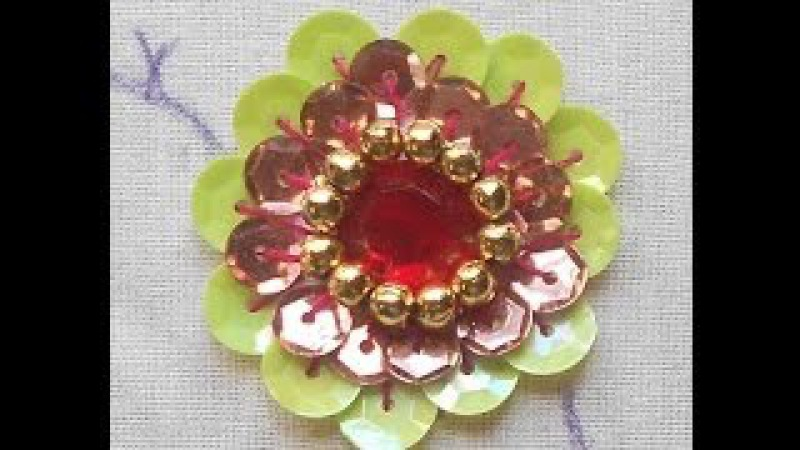 HAND EMBROIDERY How to do- A Big Beautiful rosette Sequin Flower using Kundan Stone Beads