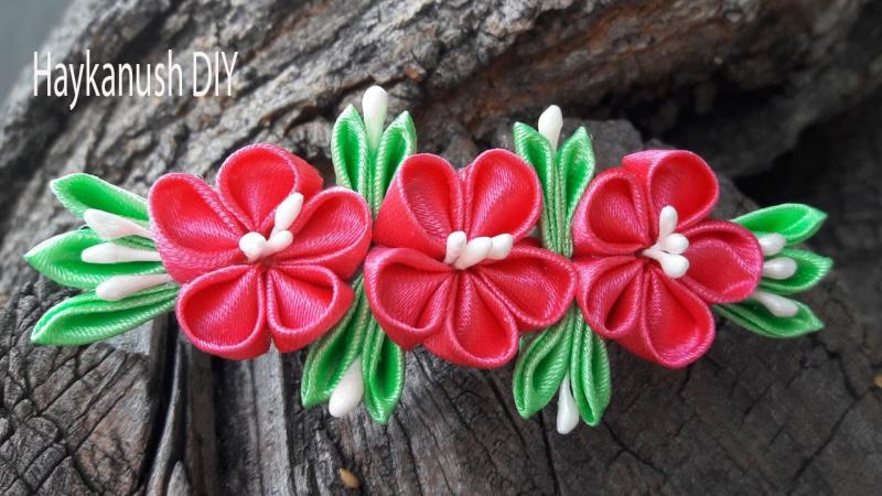DIY Easy Kanzashi Flower Tutorial. Kanzashi Hair Clip Haykanush DIY BY httpsyoutu.b