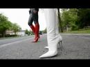 The best hooking team Kitty julieskyhigh in GML boots with metal spike heels 12cm legging smoking matching jacket