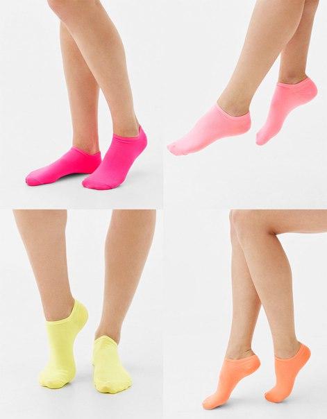Набор из 4 пар носков-следков неонового цвета