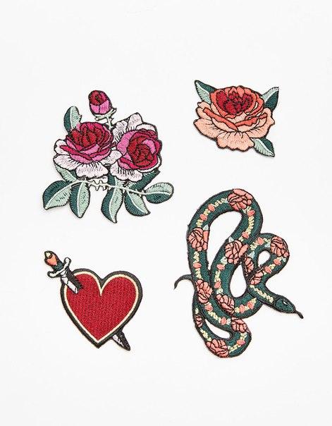 Набор из 4 нашивок 'Сердце'