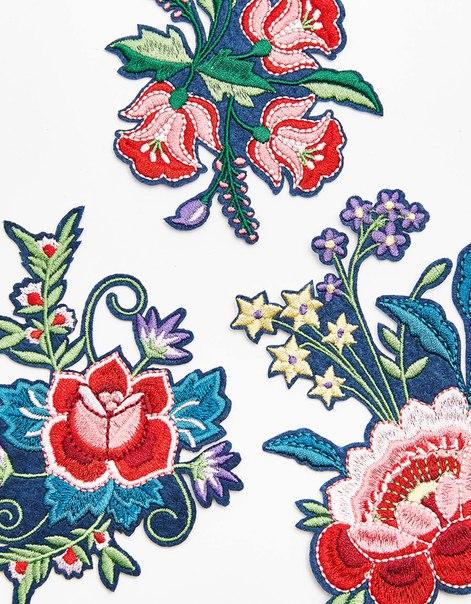 Набор из 3 нашивок «Восточные цветы»