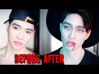 KPOP VAMPIRE | Men's Halloween Makeup Tutorial | Edward ZO ft. Ivan Lam