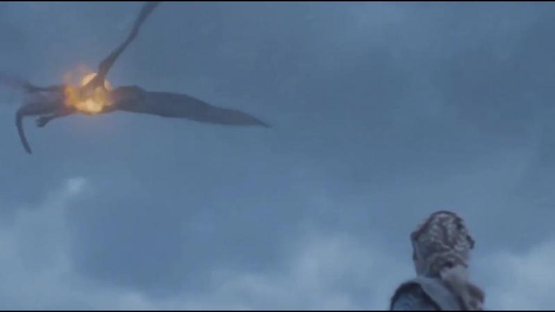 Смерть Визериона Король Ночи убивает дракона Игра Престолов 7 сезон 6 серия 1