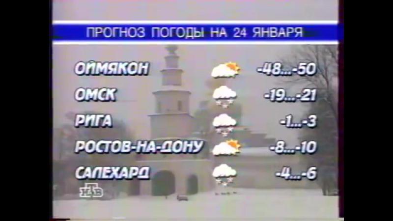 Окончание рекламного блока, прогноз погоды и заставка (НТВ, 23.01.1998)