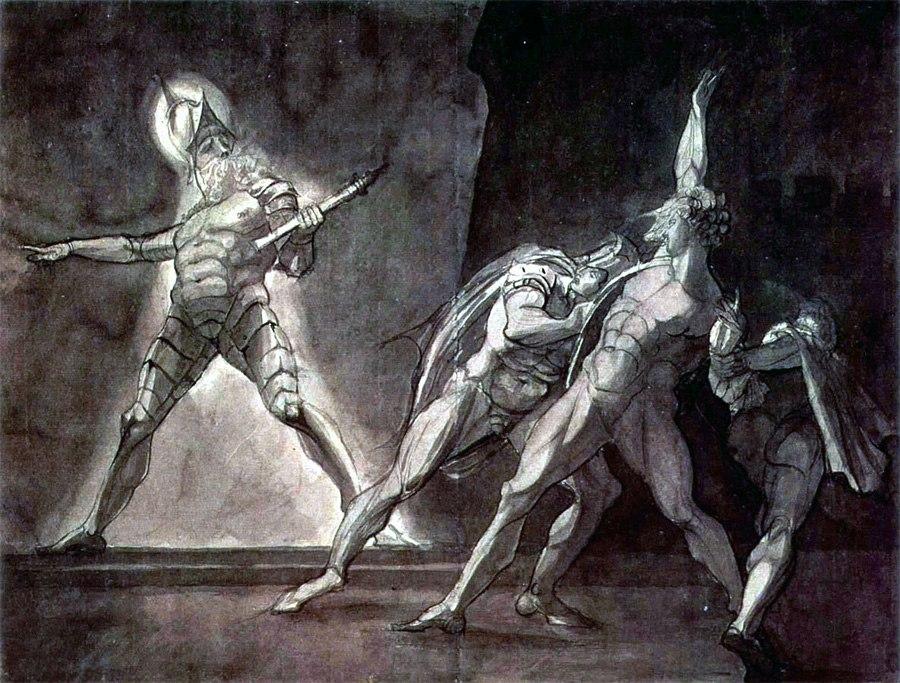 Гамлет, Горацио, Марцелл и призрак отца Гамлета. Генри Фюзели, 1780–1785. Кунстхаус (Цюрих)