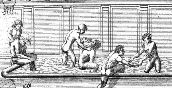 cцена в римских термах, соскребание грязи при помощи стригилей
