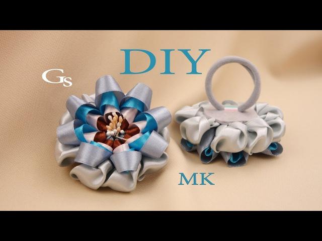 Завитки. Цветок из лент. Новая резиночка для волос / Curls. Flower ribbon. New rubber band for hair