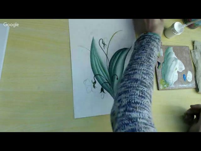 Рисуем весенний букетик ландыши фиалка и веточка березы Урок Зинаиды Голубевой