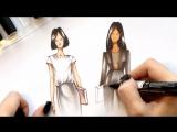 Фрагмента курса Fashion dress (рисуем черную одежду)