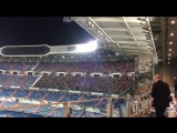 Atletico fans singing the Atletico anthem in the Bernabeu long after the final whistle