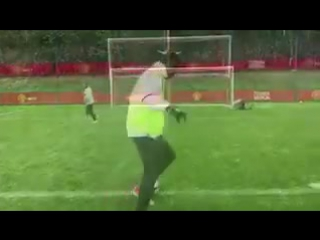 Lingard, Martial and Rashford take part in dizzy penalties this morning at Carrington