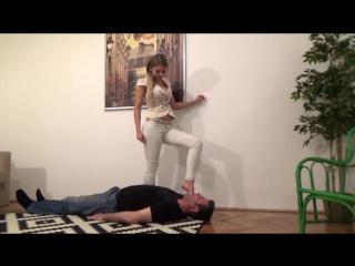 Goddess gabriella - extreme footgag foot worship feet slave trampling smelling fetish domination trample licking gagging
