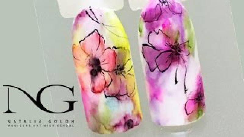 Нежные цветы на ногтях: БЫСТРАЯ маркерная техника с прорисовкой / Flowers on nails: marker te...