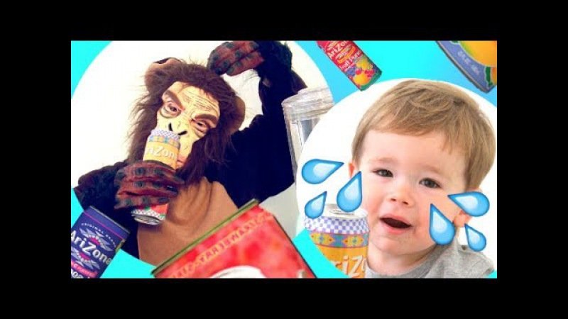 Bad Monkey Steal Baby Candy and Ice Tea Arizona | Baby Crying | Learn Colors With Kids Blender Smeg
