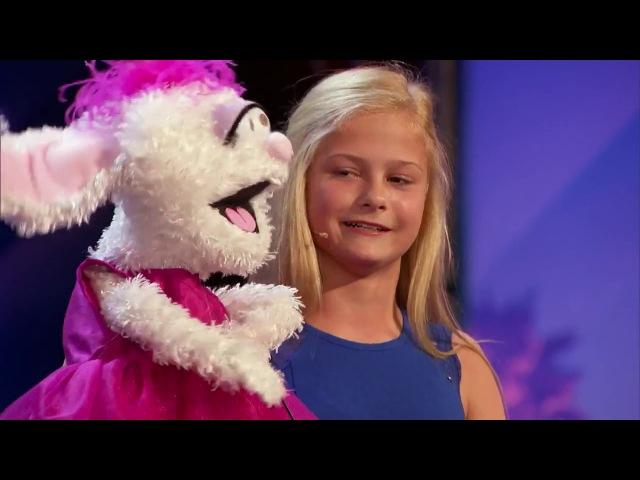 12 летняя девочка чревовещатель и её кролик на шоу America's Got Talent