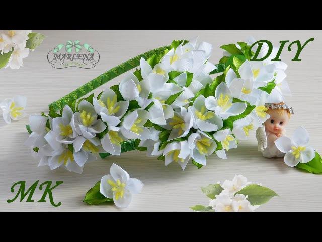 Жасмин канзаши мастер класс 👐. Ободок с цветами жасмина 🌼 МК/DIY