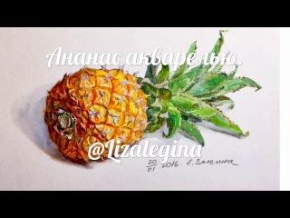 Рисуем ананас акварелью