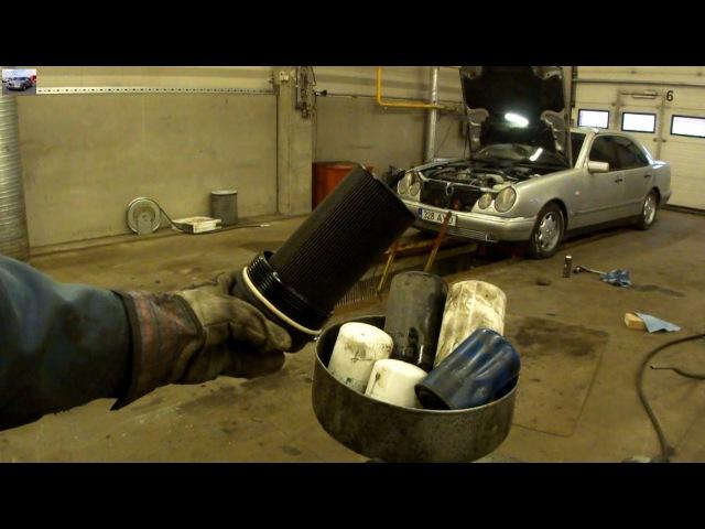 Замена масла в двигателе Mercedes E290 Turbodiesel Changing Engine Oil Filter