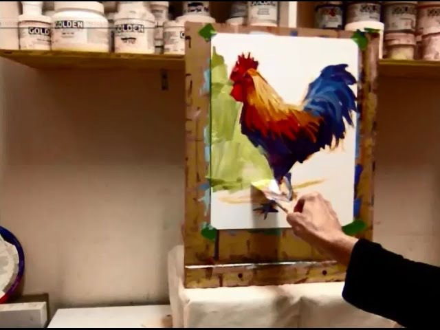 Expressive Acrylic Painting with Patti Mollica Lesson 2 Bold Colorful Rooster Demo