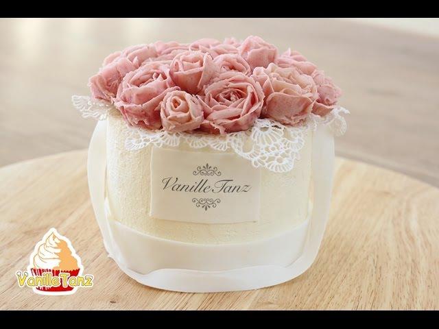 (vk.com/lakomkavk) Торт Коробка с цветами. Розы из бобовой пасты.