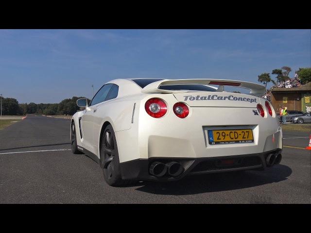 1050HP Nissan GT-R R35 Switzer P800 - Launch Control Flames!